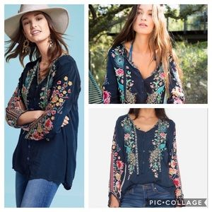 Johnny Was Blue Peacock Sable Georgette Tunic Top